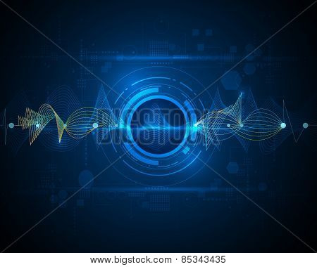 Abstract Futuristic Wave-digital Technology Concept