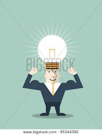 Businessman Creative idea.Light Bulb on Human Head Symbol