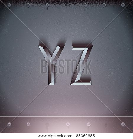 Vector Metal Embossed Font from Y to Z