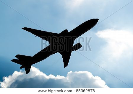 Airplane taking off silhouette