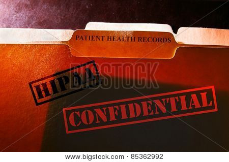 Patient Health Records folder with Confidential and HIPAA stamps poster