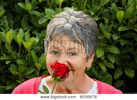 Elderly Lady with Red Rose