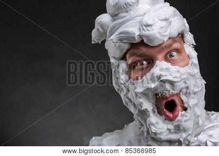 Bizarre surprised man