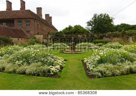 White garden Barrington Court near Ilminster Somerset England uk