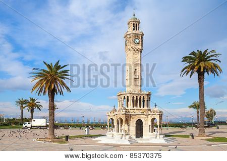 Konak Square Street View With Old Clock Tower, Izmir