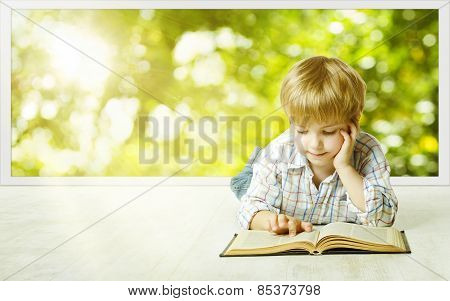 Young Child Boy Reading Book, Children Early Development, Small Kid School Education Concept