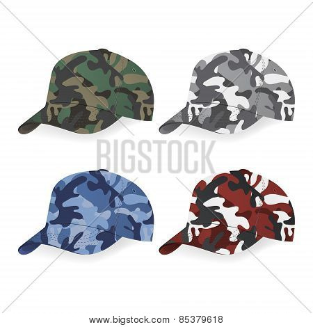 Set Of Military Caps With Camouflage Pattern