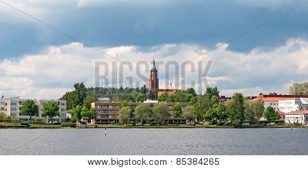 Savonlinna. Finland. Cityscape with the steeple of Lutheran Cathedral poster