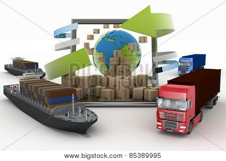 Cardboard boxes around the globe on a laptop screen, two cargo ships and two trucks. Concept of online goods orders worldwide