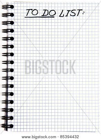 Notepad with a To Do List isolated on white background poster