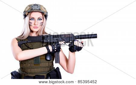 Woman In A Military Camouflage Holding The Smg