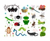 Set of cute vector insects and reptiles. Bee and grasshopper, lizard and snake, frog and cockroach poster