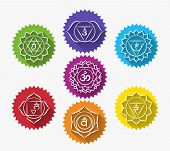 Set of chakras. Symbol meditation and spiritual, yoga buddhism and energy. Vector illustration poster