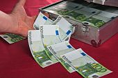 Metal suitcase full euro banknotes. A close up poster
