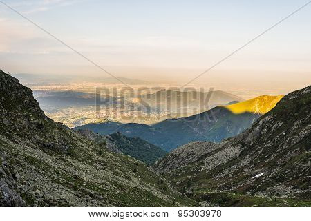 Glowing Alpine Valley At Sunset From Above