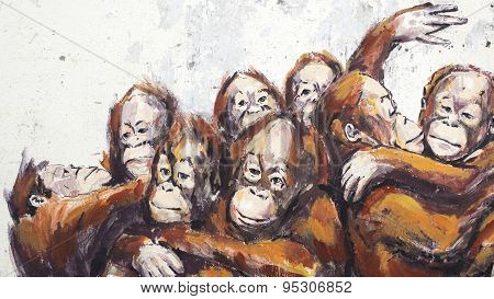 Orangutans In A Wheelbarrel, Kuching, Sarawak, Malaysia