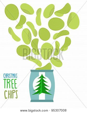 Potato chips taste of Christmas trees. Special chips for a new year. Packaging, bag of chips on a white background. Chips flying out from Pack. Fantastic Delicacy. Food vector illustration. poster