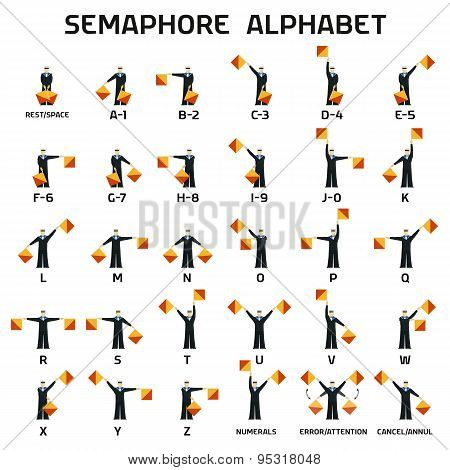 Semaphore alphabet flags on a white background