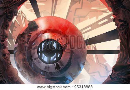 Infernal futuristic background.