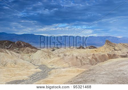 Unique Mountains Formations Of Zabriskie Point In Death Valley National Park In California, Usa
