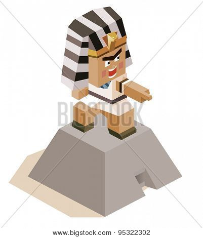 egypt ramses angry. vector illustration