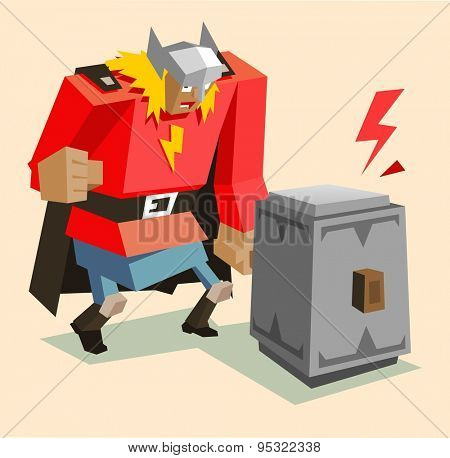 thor the super warrior. vector illustration