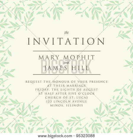 Invitation with pattern olive branch. Template wedding invitation or announcements