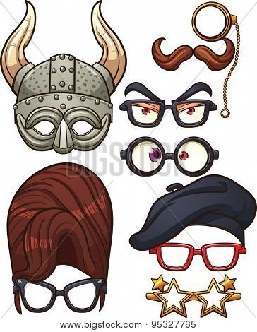 Funny cartoon glasses. Vector clip art illustration with simple gradients. Each element on a separate layer.