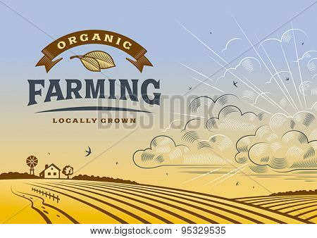 Organic Farming Landscape.  Editable vector illustration with clipping mask.