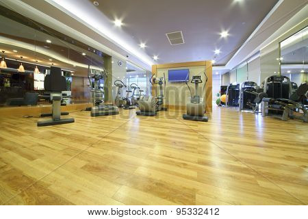 SOCHI, RUSSIA - JUL 27, 2014: Fitness equipment in the gym in the Hotel Radisson Blu Paradise Resort and Spa