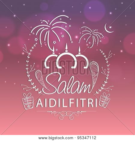Beautiful greeting card design with stylish text Salam Aidilfitri on firecrackers decorated shiny background for holy Islamic festival, Eid celebration.