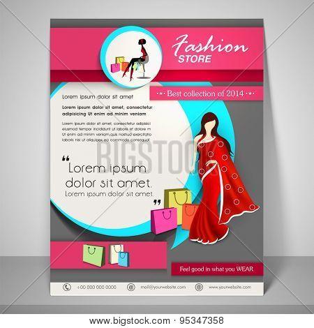 Colourful banner and flyer for fashion store with young fashionable girl wearing saree, address bar, place holder and mailer.