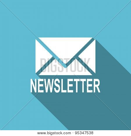 newsletter flat icon  original modern design flat icon for web and mobile app with long shadow