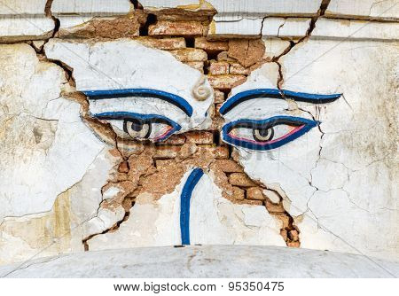 Earthquake damaged Buddha's eyes at Swayambhunath in Kathmandu, Nepal