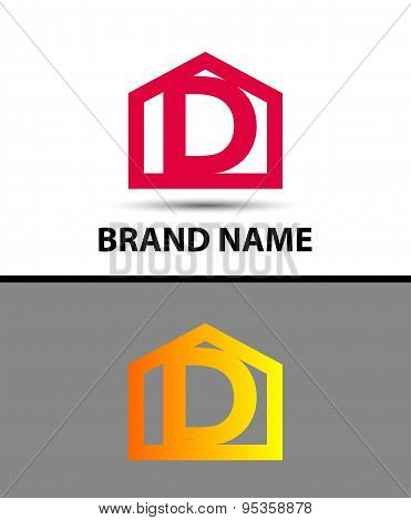 Letter d logo with home icon