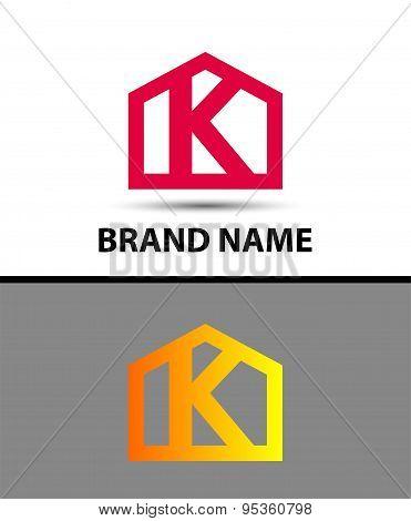 Letter k logo, real estate symbol