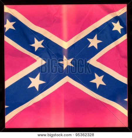 Instagram filtered image of a blurred Confederate Flag - a controversial topic in the United States