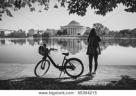 Washington DC - A Biker enjoys the historical scene at Thomas Jefferson Memorial i- Black and White toned