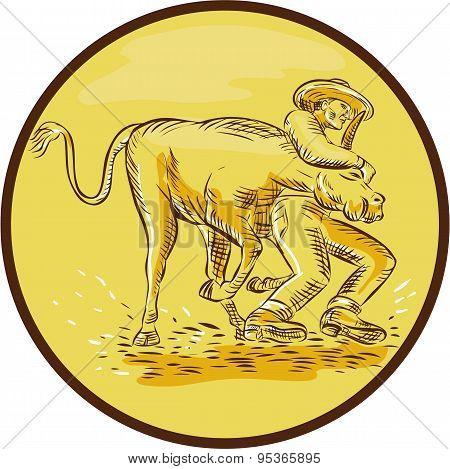 Rodeo Cowboy Steer Wrestling Circle Etching