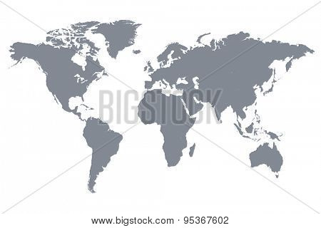 Grey World Map Vector Illustration