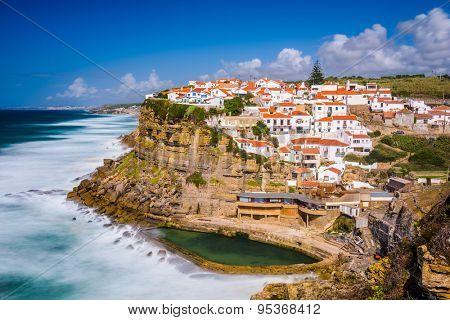 Azenhas do Mar, Portugal seaside town. poster