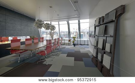 Modern conference room in a company office with grey decor and red chairs along the long meeting table and view windows overlooking the city at the far end. 3d Rendering