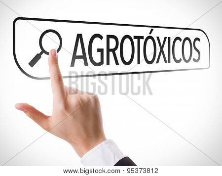 Pesticides (in Portuguese) written in search bar on virtual screen poster