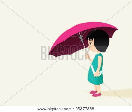 Little girl and pink umbrella