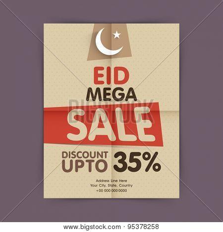 Vintage mega sale flyer, banner or template with discount offer upto 35% for muslim community festival, Eid celebration.