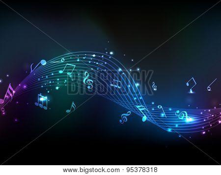 Shiny musical wave with notes on stylish background.