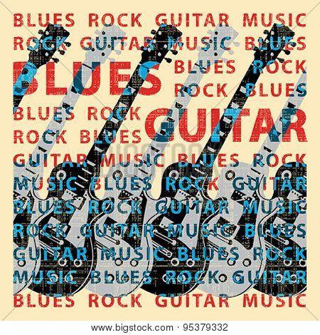 Blues guitar music, conceptual vector illustration. Vector format EPS 8, CMYK.