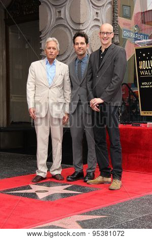 LOS ANGELES - JUL 1:  Michael Douglas, Paul Rudd, Peyton Reed at the Paul Rudd Hollywood Walk of Fame Star Ceremony at the El Capitan Theater Sidewalk on July 1, 2015 in Los Angeles, CA