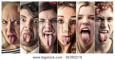 People sticking out their tongues