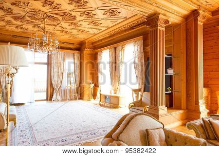 Novi Petrivtsi, Ukraine - May 27, 2015 Mezhigirya residence of ex-president of Ukraine Yanukovich. Luxurious giant living room interior